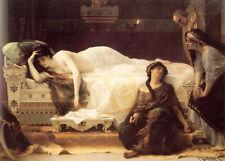 Stunning art Oil painting female portrait Phaedra nude woman on bed canvas