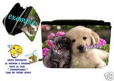 portefeuille avec portemonnaie petit chien  personnalisable avec prénom réf 01