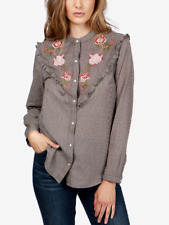 NWT Women's Lucky Brand Floral Embroidered Button Western Shirt Grey Size Small