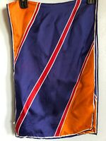 """Vera Neumann 44"""" Oblong Vintage Gold Mustard Blue Red Fall Autumn Colors Scarf"""