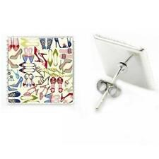 CG3000...RHODIUM PLATED STUD EARRINGS - SHOES - FREE UK P&P
