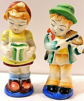 Salt Pepper Shakers Musicans Vintage Japan Mid Century Boy Girl Kitchen Musical