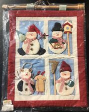 3D Quilted Snowman Wall Hanging on Wooden Dowel for Country Christmas Winter