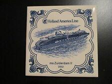 HOLLAND AMERICA CRUISE LINE ZUIDERDAM II 2 SHIP delft tile coaster 2002 INAGURAL