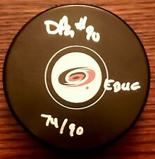 DAVID AYRES LIMITED EDITION /90 AUTOGRAPHED NHL PUCK EBUG INSCRIPTION HURRICANES