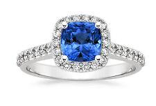 Real Blue Gemstone Sapphire Rings 2.00 ct Diamond Cushion Cut 14kt White Gold