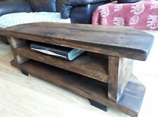 Corner Rustic Pine TV Unit solid wood stand/cabinet -walnut wax finish