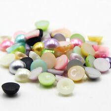 200Pcs Mixed Half Round Faux Pearl Flatback Beads Scrapbook Phone Embellish DIY