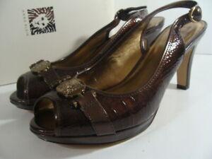Anne Klein Akpepita Brown Croc Leather Horsebit Peep Toe High Heels Womens 9.5 M