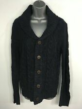 WOMENS TWISTED SOUL HERITAGE NAVY BLUE CHUNKY CABLE KNIT CARDIGAN JUMPER SIZE XS