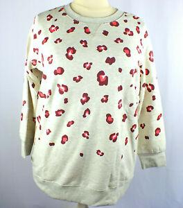 NEW Woman Within Multi-Color Plus Size 1X Sweatshirt Geo Print Fleece Lined