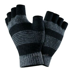 Mens Womens Winter Warm Knit Fingerless Magic Half Finger Gloves Stretch Mitten
