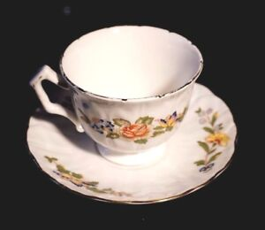 Beautiful Aynsley Cottage Garden Swirl Pattern Cup And Saucer