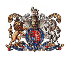 """""""Royal coat of arms""""-Small- Vintage Varnish-fix Decal / Transfer.--foil-backed."""