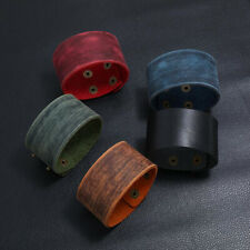 Punk Mens Wide Genuine Leather Bangle Bracelet Wristband Adjustable Cuff Wrap
