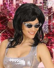 Long Black Wig Katy Perry 70'S Disco Austin Powers Fancy Dress