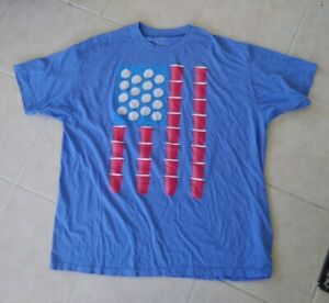 Beer Pong USA Flag America Shirt - Blue Men's Size 2XL Dad Gift Tee Los Angeles