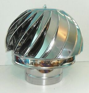 CHIMNEY SPINNER COWL Stainless Steel Spinning Wind Rotating Cap fit 100 to 350mm