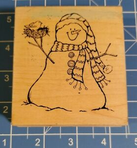 Great Impressions Rubber Stamps H109 Snowman, Christmas, Bird in Nest