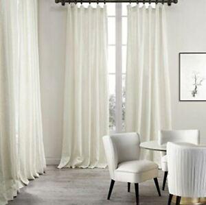 "1 Ikea Ritva 94"" Solid White Curtain Panel Drape Cotton Long Single Window Decor"
