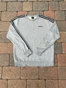 Adidas Crewneck Sweatshirt Adult Large Gray Spellout Logo 90s Streetwear