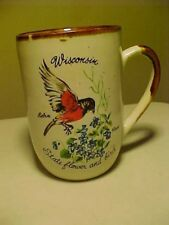 Souvenir Advertising Ceramic Coffee Cups Mug Wisconsin State Flower & Bird
