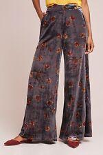 NWT Anthropologie ett:twa Blue Gray Floral Jesse Soft Velvet Wide Legged Pants M