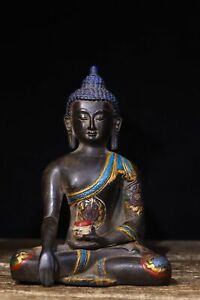antique old Tibet Copper embryo Carving Colour tracing Shakya Mani Buddha