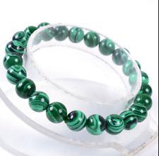 "New Stretch 10mm Round Beads Natural Green Malachite Bracelet 7.5"""