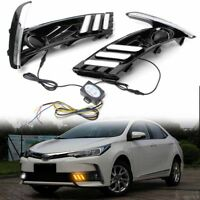 2pcs LED Daytime Running Lights Turn Signal Lamp DRL for Toyota Corolla Altis 17