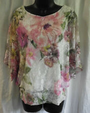 Brittany Black Knit Size S NWT Multi Floral Lace Lined Beads Nylon Blend Dolman