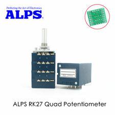 Japan ALPS RK27 10K ×4 Quad Audio Volume Potentiometer Blue Velvet Round Shaft