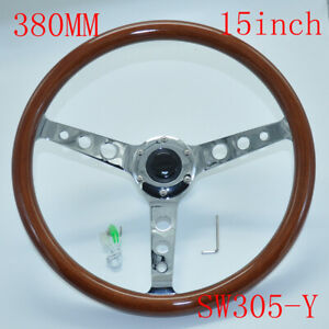 """380MM 15"""" Inch Stainless Steel Brown Wood Steering Wheel Horn Button 6 Hole"""