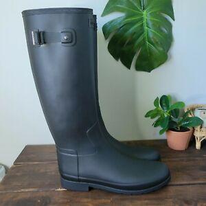 Hunter Wellington Original Refined Rain Boots WFT1071RMA Black Women's Size 11