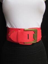 "New Women High Waist Hip Coral Stretch Fashion Belt Gold Buckle 23""-30"" XXS - S"