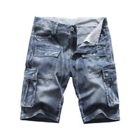 FOX JEANS Men's Nelson Casual Denim Blue Cargo Shorts-SIZE 32