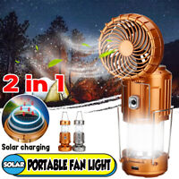 2 in 1 Solar Outdoor Fan Rechargeable Camping Lantern Light Led Hand Light