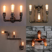 3-Head Edison Industrial Steampunk Metal Water Pipe Wall Sconce Lamp Fixtures
