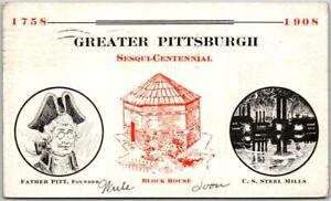 Vintage GREATER PITTSBURGH SESQUI-CENTENNIAL Postcard Steel Mills 1908 PA Cancel