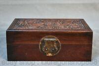 """8 """"boîte à bijoux Dragon chinois du palais de la dynastie des Huanghuali en bois"""