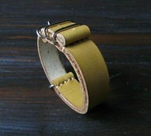 Handmade Olive Leather Band Vegetable Tanned Hypoallergenic  Strap Watch