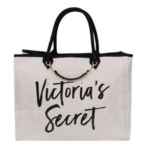NEW! Victoria's Secret Woven Canvas Chain Tote Bag Beige Beach Travel Weekender