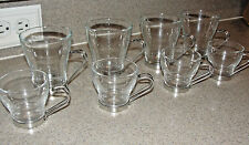 8 PC SET VITROSAX ITALY CLEAR GLASS ESPRESSO & TEA / COFFEE CUPS CHROME HOLDERS