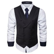 New Fashion Mens Vest Double Breasted Solids Waistcoats YV3039