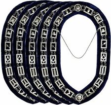 5PC Masonic Regalia Master Mason SILVER Matel Chain Collar BLUE Backing DMR400SB