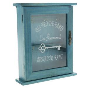 European Style Wooden Key Holder Box Decorative Key Cabinet with 6 Hooks
