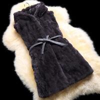 Women Luxury Real Rabbit Fur Vest Hooded Warm Gilet Waistcoat Coat Jacket Parka