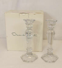 Oscar de la Renta CHIPPENDALE Lead Crystal PAIR of 2 CANDLE HOLDERS Set 8.5""