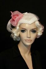 Vintage hat white skullcap pink flower white feather 1960 wedding derby