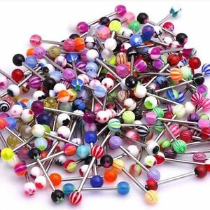 Tongue Bars Surgical Steel Barbell Rings Mixed Ball Body Piercing Jewellery